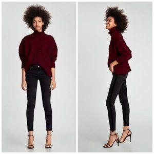 Zara High Waist Velvet Stripe Ankle Skinny Jeans